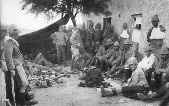Some jocks (possibly Gordons) at a field hospital, Paardeberg Drift (Boer War).