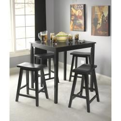 Set Includes: Counter Height Table And Four Saddle Stools Materials: Rubber  WoodFinish: Black