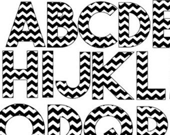 chevron letters a-z pattern svg dxf file instant download silhouette cameo cricut clip art