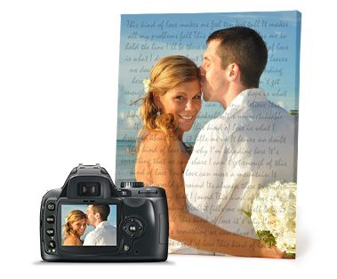 A canvas with your favourite wedding photo and first dance song lyrics! http://www.onacanvas.com/article/print-your-favourite-wedding-photo-and-first-dance-song-lyrics-canvas