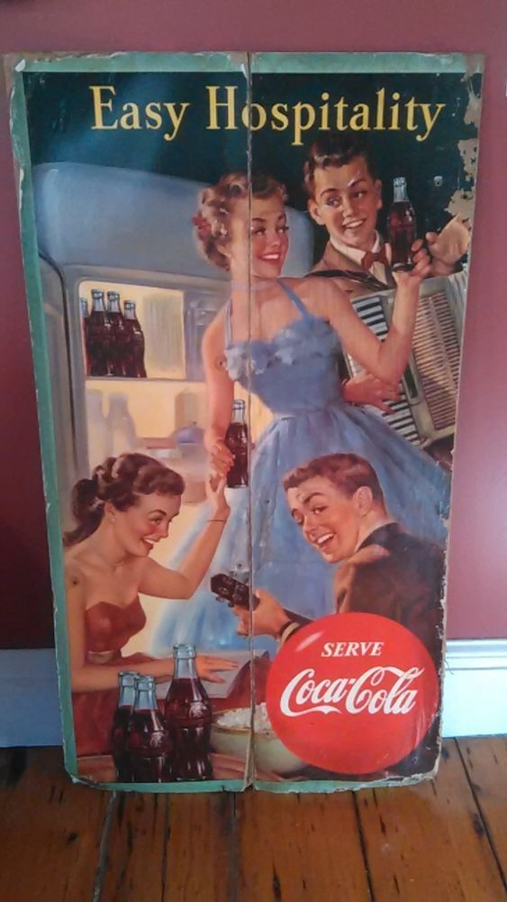 Vintage Rare 1952/53 Two-sided Coca Cola Cardboard Ad Display Sign