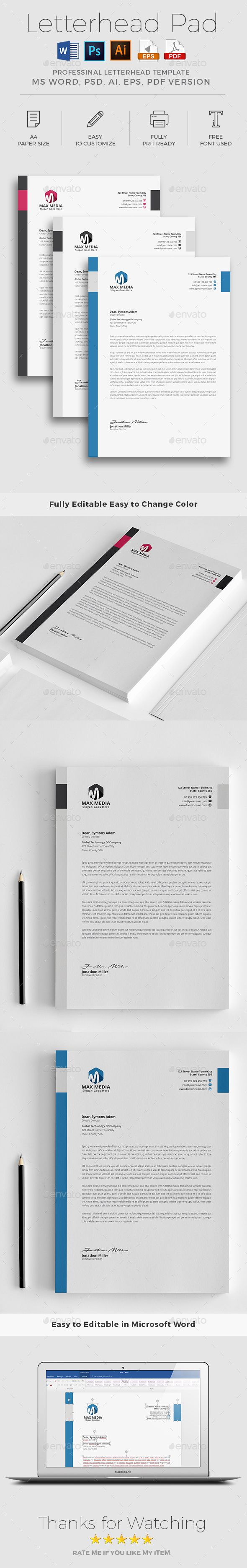 microsoft word business letterhead template