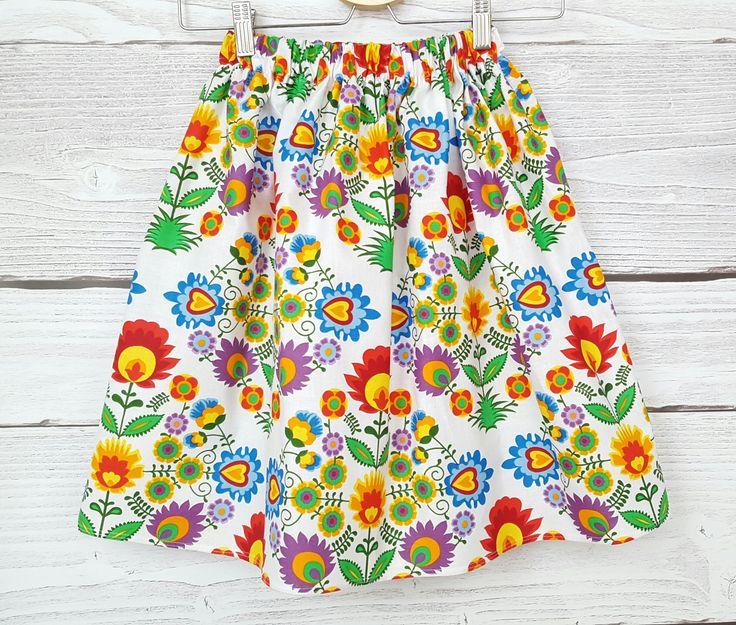 Jupe aux fleurs, jupe blanche aux fleures, jupe femme en coton aux fleures roses, rouges,vertes : Jupe par atelier-mademoiselle-k