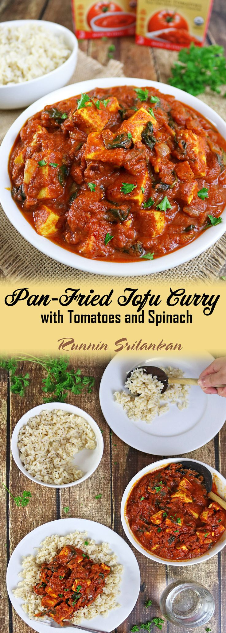 Pan Fried Tofu Curry with Tomatoes and Spinach -  a warm and comforting curry that can be enjoyed with rice, naan or even pasta