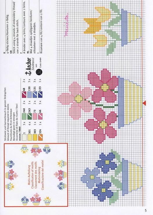 Fiori   cross stitch simple flowers