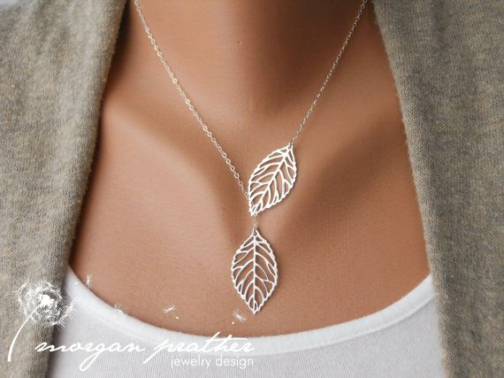 Leaf Lariat - silver grey white dainty leaf pendants - sterling silver chain - morganprather