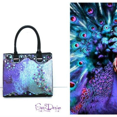 Electric, pearlescent colors on GyaDesign handbag
