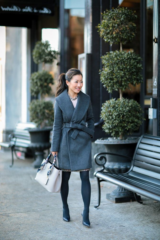 winter outfits: belted wrap wool jacket // ann taylor extra petite