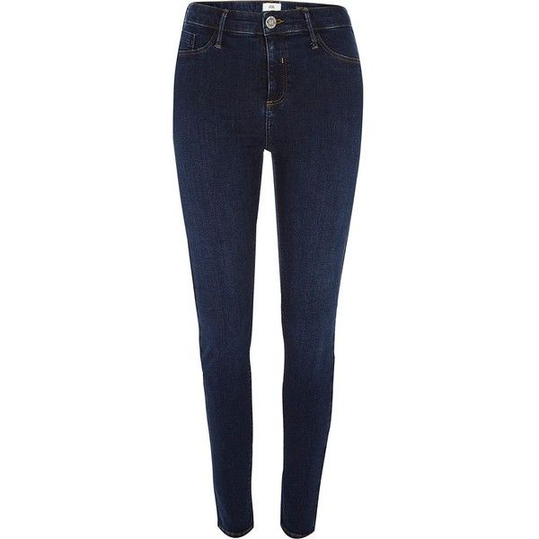 River Island Dark blue Molly jeggings ($80) ❤ liked on Polyvore featuring pants, leggings, blue, jeans, jeggings, women, jeggings leggings, blue denim leggings, blue jeggings and skinny pants