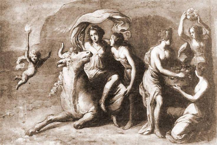 Andrzej Stech - Porwanie Europy, ok. 1676 roku, gwasz, papier, Muzeum Narodowe w Gdańsku.