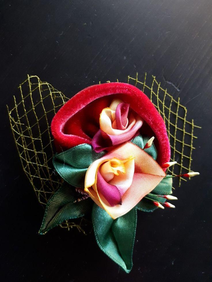 vintage velvet, hand dyed silk ribbon made by Margaret Roolker