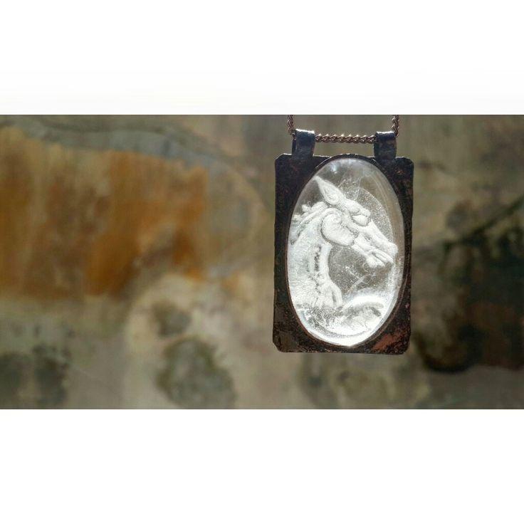 Quartz Crystal and Bronze Necklace - Celtic Horse - Healing Crystals- Shaman - Handmade