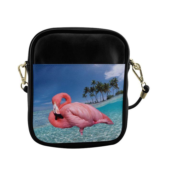 Flamingo and Palms Sling Bag (Model 1627)