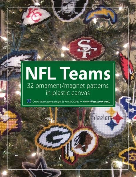 NFL-themed Christmas ornaments in plastic canvas by AuntCC on Zibbet