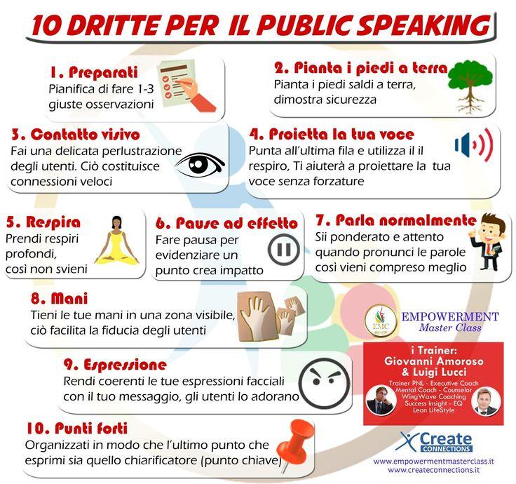 Problemi con il Public Speaking? Leggi questi 10 semplici passi da seguire per parlare davanti alla tua platea in maniera efficace. #vogliovivereacolori 🌈 #emc🎯 #createconnections😊 www.createconnections.it