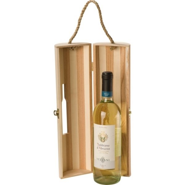 """Wooden gift box Description Wooden wine carrier with look-in """"bottle-shaped"""" window Product size 36 x 11 x 11 Branding size 4 x 2"""