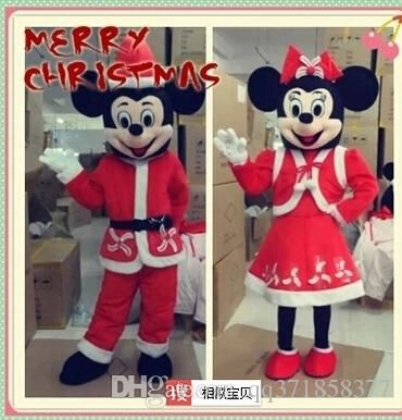 Christmas Mickey And Minnie Mouse Cartoon Character Mascot Animal Costume School…