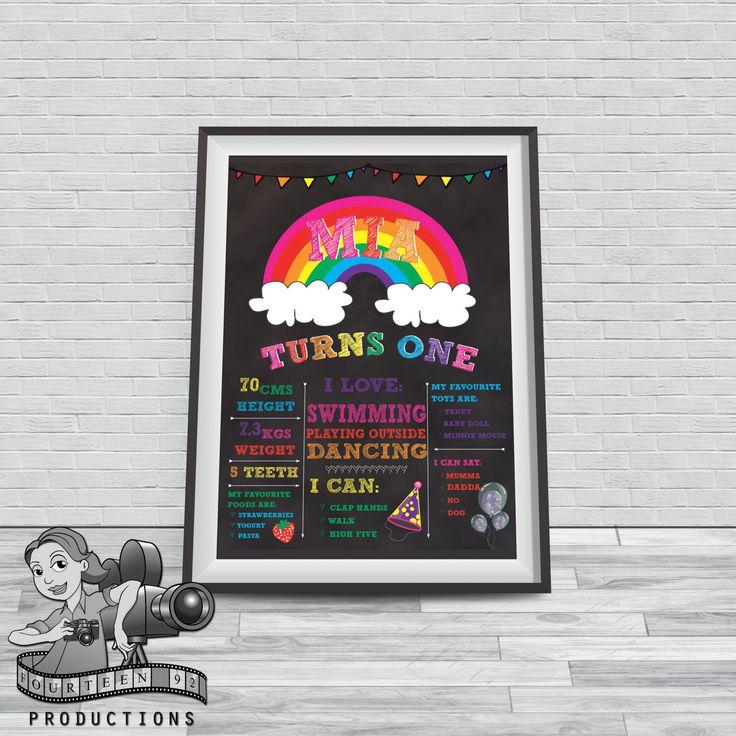 Rainbow Chalkboard Milestone Poster by fourteen92prod on Etsy https://www.etsy.com/au/listing/465557689/rainbow-chalkboard-milestone-poster