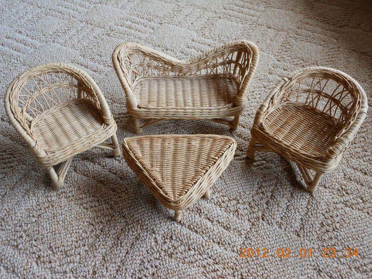 Wicker Patio Dollhouse Miniature Furniture Set of 4