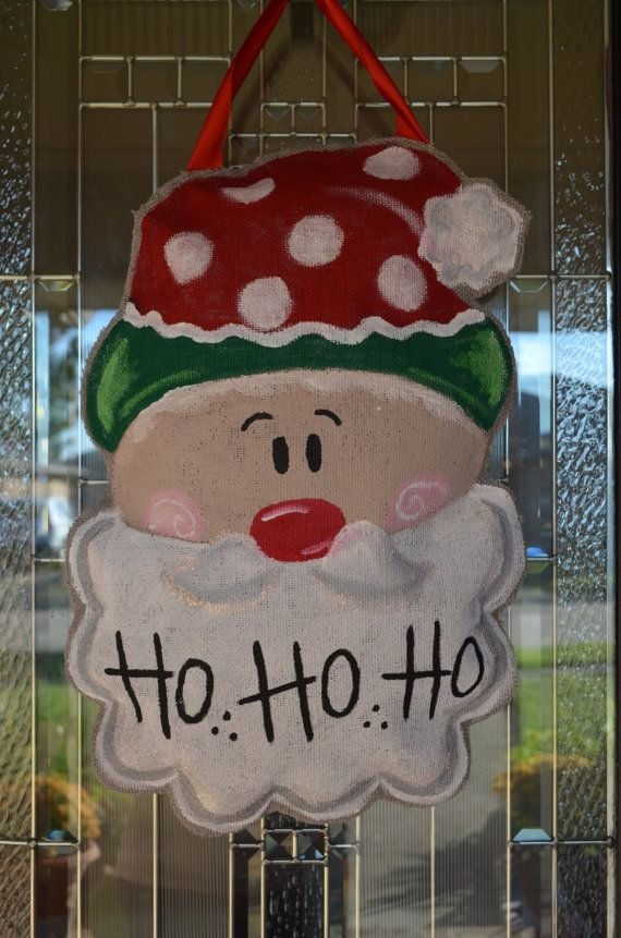 Santa Claus Burlap Door Hanging by LittleTicklebug on Etsy, $30.00