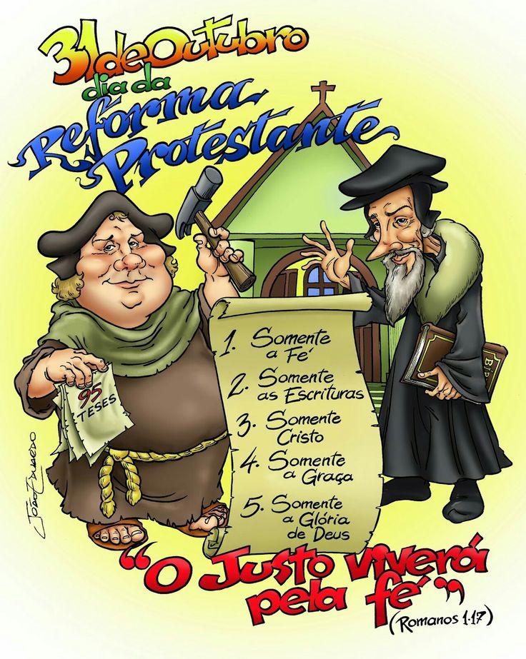 Caricaturas/caricatures  Martinho Lutero e João Calvino  499 anos Reforma Protestante   Portfólio: educaricaturas.blogspot.com.br