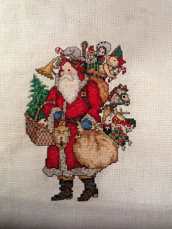 Counted cross stitch red Santa Claus by EmporiumHouse on Etsy, $35.00