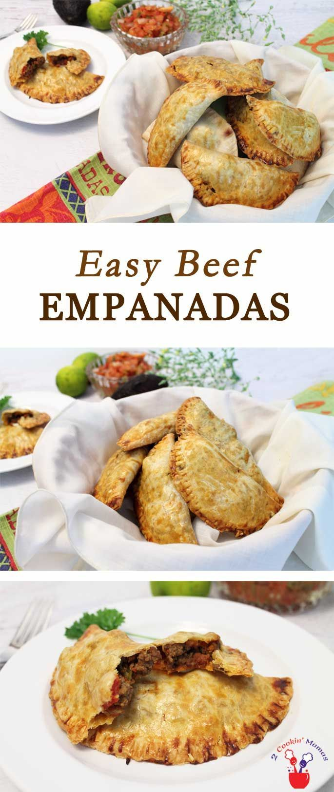 These easy beef empanadas are pockets of beef, chorizo and tomatoes baked up in a crispy pie crust. They go together in minutes & are always a party hit! via @2CookinMamas