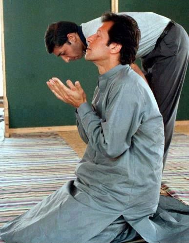 Imran khan during his prayers, making a dua