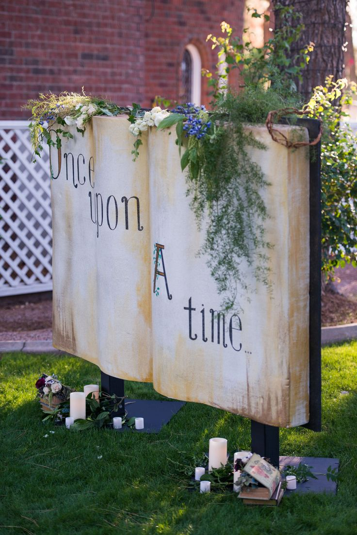 once upon a time life size story book backdrop