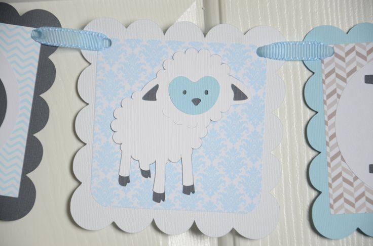 Baby Lamb Banner, Baptism Party, Baptism Theme, God Bless Name Banner, Sheep/Baby Lamb, Religious banner, Holy banner, Gray and L Blue by lisamarDesigns on Etsy