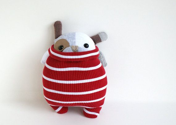 Little SockPup Patrick red & white striped sweater by theRemakerie, $42.00