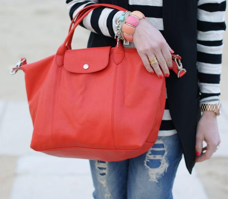 Fashion Cheap Portable Longchamp Le Pliage Love Bags Violetred