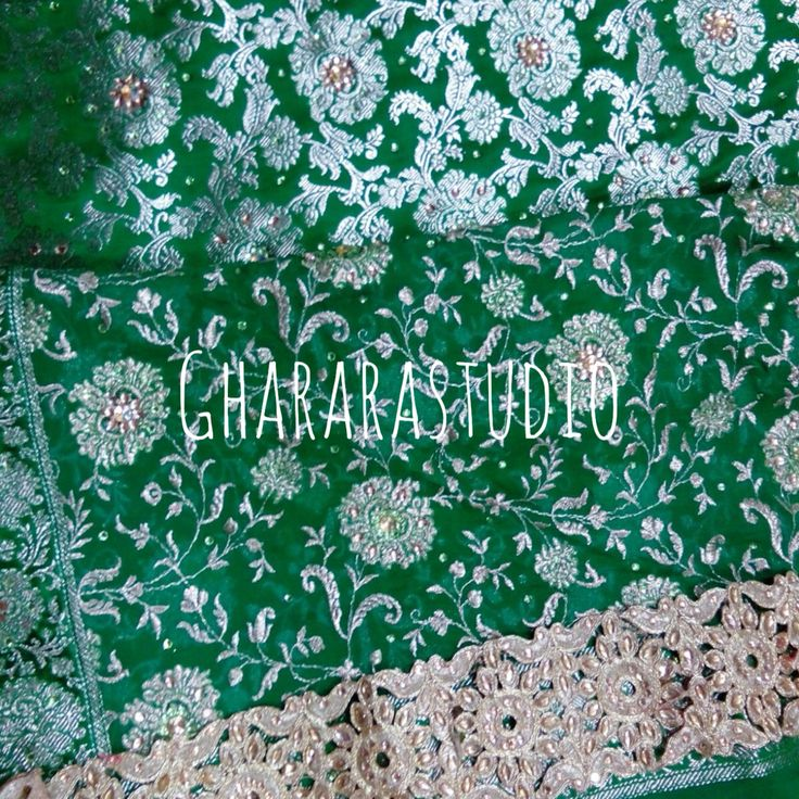Green Kamkhawab Gharara with zari and kundan jaal all over dupatta. Kundan work all over Gharara.  Drop a message to order or enquire. 9971865919 ☎️ #ghararastudio #ghararastudiobyshazia #gharara #ghararah #gharara4u #ghararagirl #wedding #weddingdress #weddingideas #weddinggharara #allthingsbridal #allthingswedding #pakistanigharara #pakistanigreen #greengharara #bride #bridal #bridalgharara #indianbride #indiafashion #indianwedding #zari #kundan #embroidery