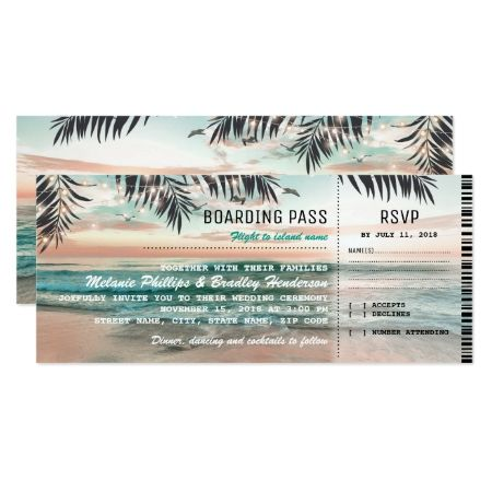 Boarding Pass Tropical Beach Wedding Tickets RSVP Card - tap to personalize and get yours
