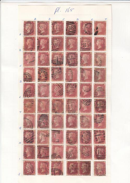 Groot-Brittannië Koningin Victoria - Penny Red Stanley Gibbons 43 Plate 165 Sheet Reconstruction  Engeland Penny Red Plate 165 compleet gestempeldZie afbeeldingen voor een goede indrukaangetekende verzending  EUR 1.00  Meer informatie