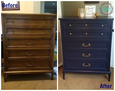 For Love of the Paint: Before and After : Mid Century Modern Style Vintage Chest of Drawers / Dresser in General Finishes Coastal Blue Milk Paint  (navy) with gold hardware for an effortlessly chic look! MCM DIY upcycle create and restore!