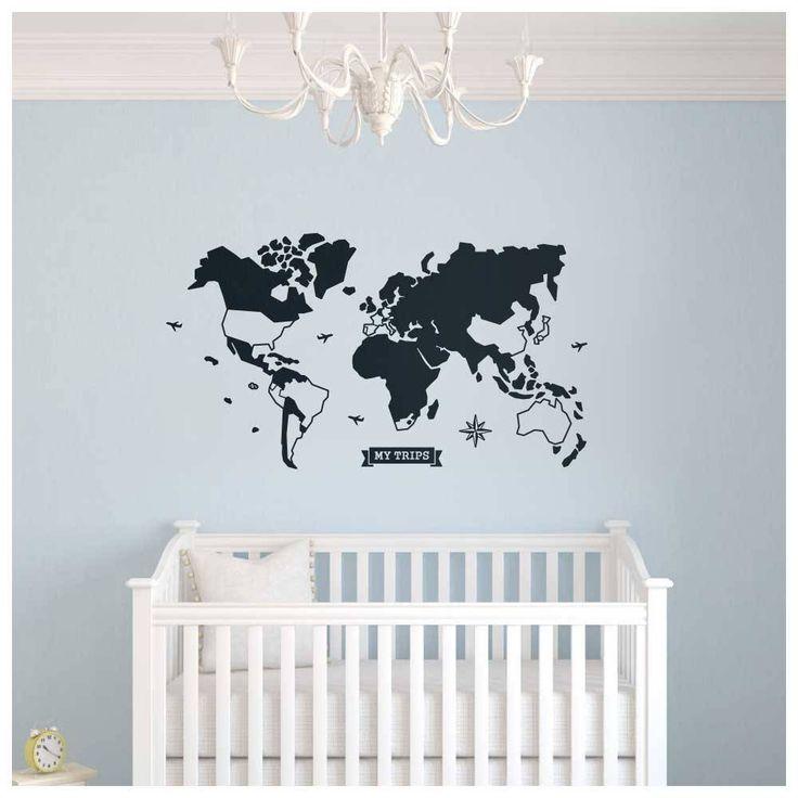 Decorando o quarto do bebê com mapa-múndi! Adesivo de parede com países destacáveis para marcar os países visitados.
