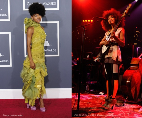Esperanza Spalding wears WHAT'S MORE ALIVE THAN YOU™  On the left: Esperanza Spalding at 53rd Grammy music awards 2011  On the right: Esperanza Spalding in Austin - ACL Live at The Moody Theater 2012 #EsperanzaSpalding #GrammyMusicAwards #jazz www.whatsmorealivethanyou.com