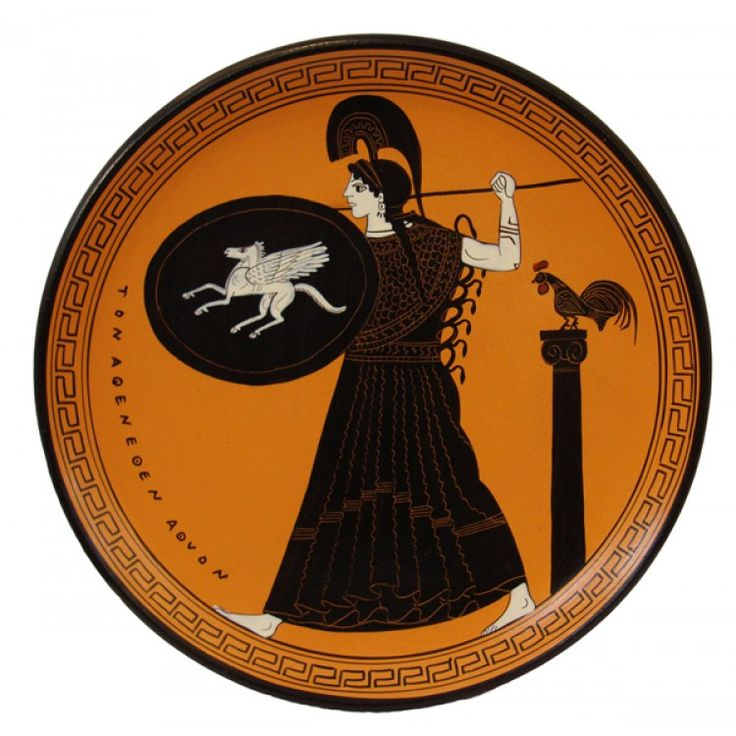black-figure plate: Athena with 'Pegasus shield'