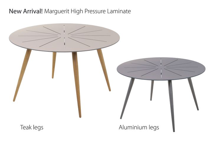 New in 2014! New Marguerit table with either teak or aluminium legs. Minimalistic design. Table top in weather resistant high pressure laminate.   The lags are easily changed    Shop online at www.mandalay.dk