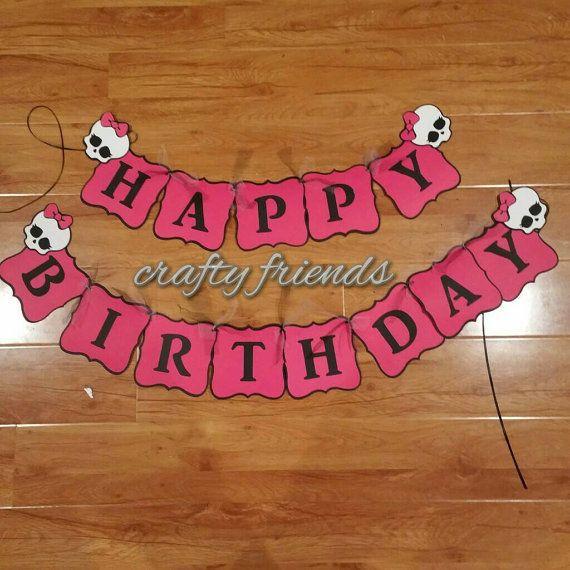 Monster High Birthday Banner by SoCalCraftyFriends on Etsy