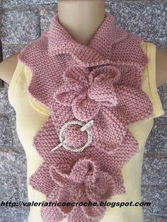 Valéria Fashion: Gola em tricô com flores
