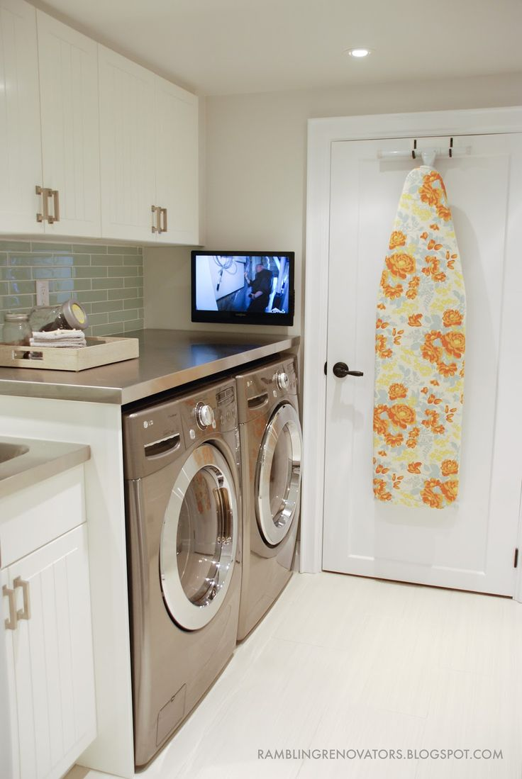 Rambling Renovators: Laundry Room Reveal Pt 1 | small laundry room, galley laundry, stainless laundry counter, luxe laundry