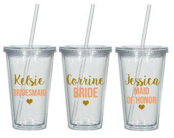 Personalizada de Dama de honor vasos vasos de por WeddingsByLeann