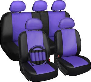 Faux Leather Purple Seat Cover for Jeep Wrangler w/Steering Wheel/Belt/Head Rest