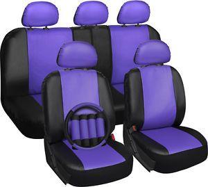 Faux Leather Purple Seat Cover for Jeep Wrangler w/Steering Wheel/Belt/Head Rest