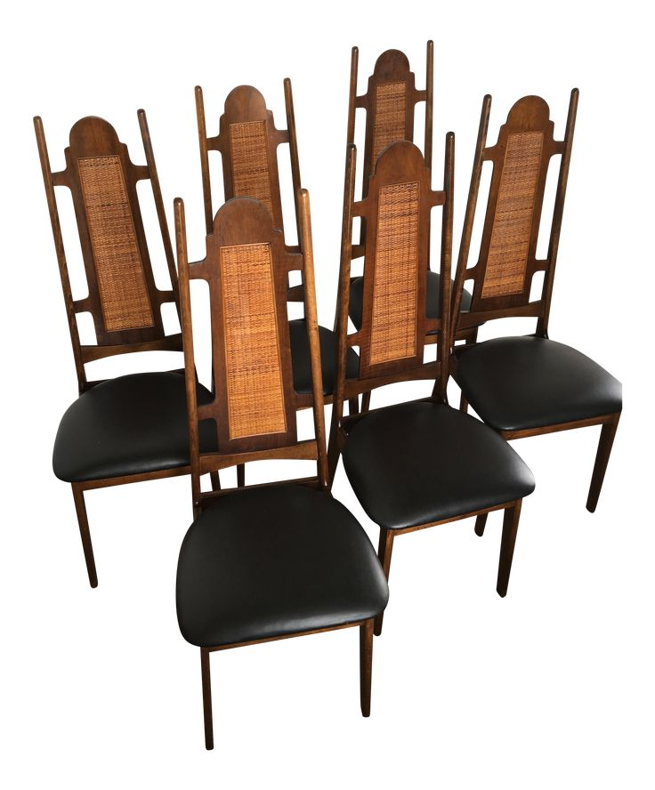 Mid-Century High Back Dining Chairs - Set of 6 on Chairish.com