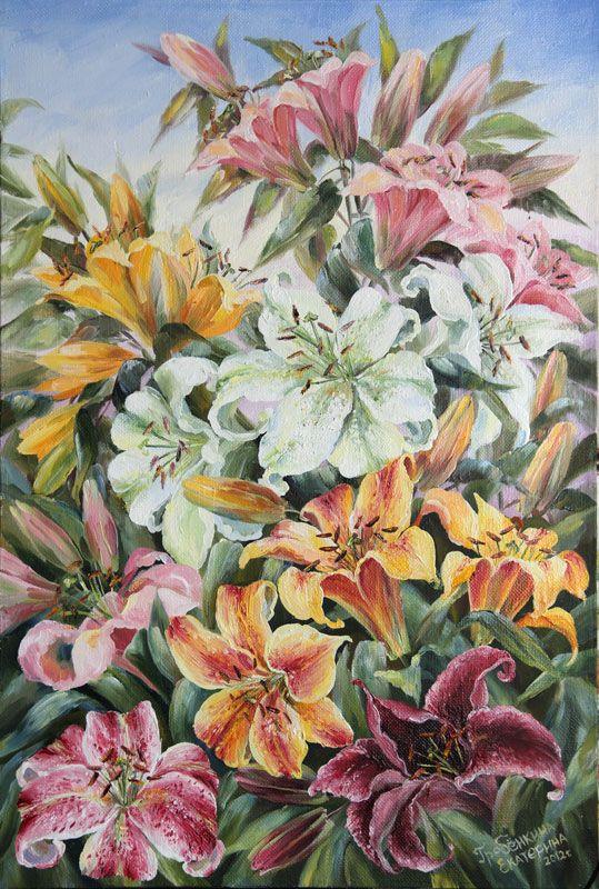 Картины - Цветы - Лилии в саду (Холст, масло)