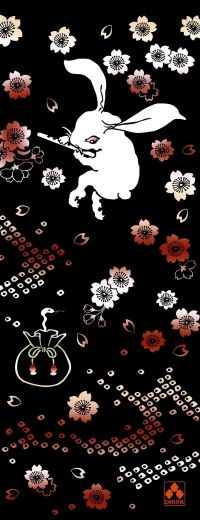 ちきりやの手拭い『蛇使い兎』 ※メール便配送可 - 手ぬぐいと和雑貨、和柄Tシャツやバッグに革財布の通販|CHIKIRIYA/ちきりや/チキリヤ