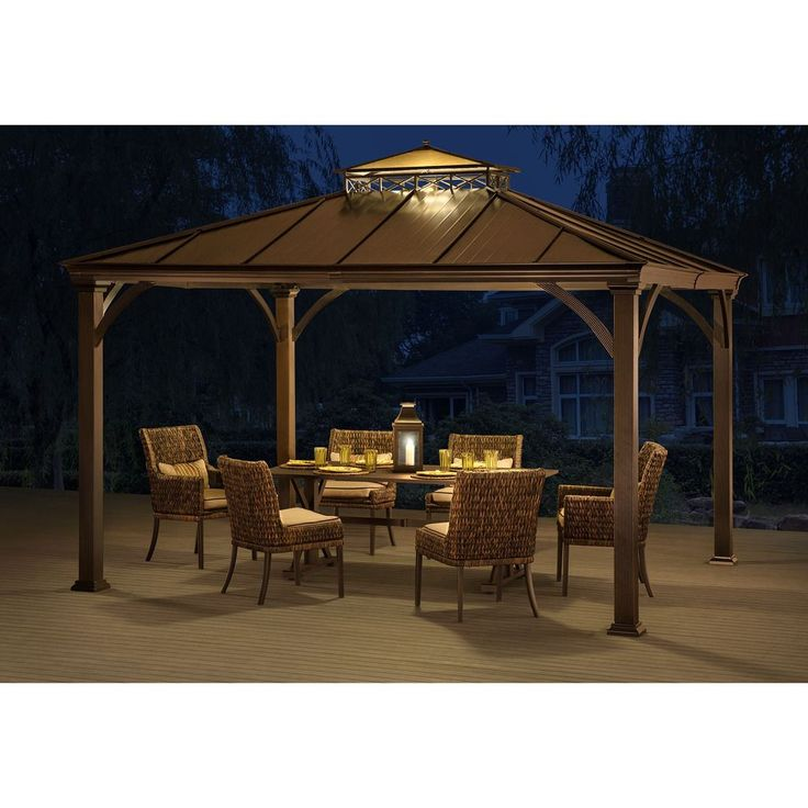 Bland to beautiful backyard transformation. Add this hardtop gazebo and take shelter from the hot summer sun. Now you can extend your time outdoors with shelter from the sun or the fall rain underneath the protection of this alluring hard top gazebo.